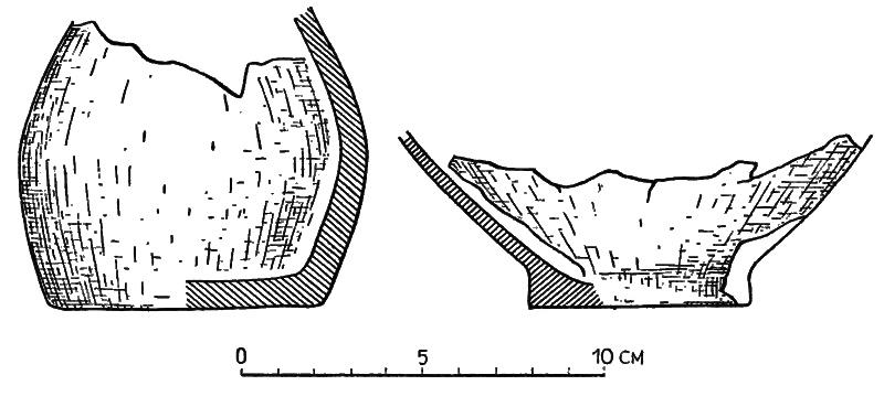 Naczynie, w którym znajdowały się monety (po lewej) oraz czarka, którą było ono przykryte (po prawej) [Materiały starożytne i wczesnośredniowieczne Tom II, s. 328, tablica XVII]