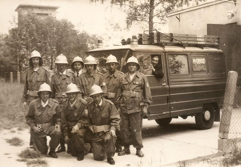 Drużyna pożarnicza seniorów (lata 70.) [Archiwum OSP, kronika]