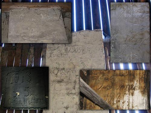 Przykładowe daty budowy i opisy wewnątrz budynków