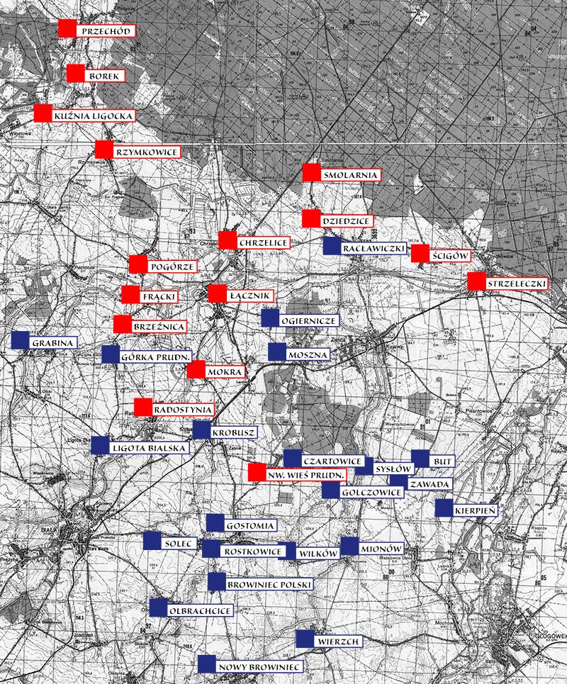 Miejscowości dóbr chrzelickich (kolor czerwony) na tle wiosek, w których według F. Pluty występuje dyftongizacja (kolor niebieski).