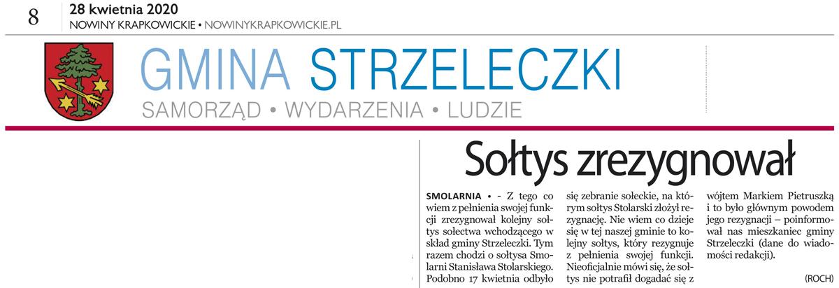 """""""Sołtys zrezygował"""" [w:] Nowiny Krapkowickie, nr 17/2020 (420), 28.04.2020."""