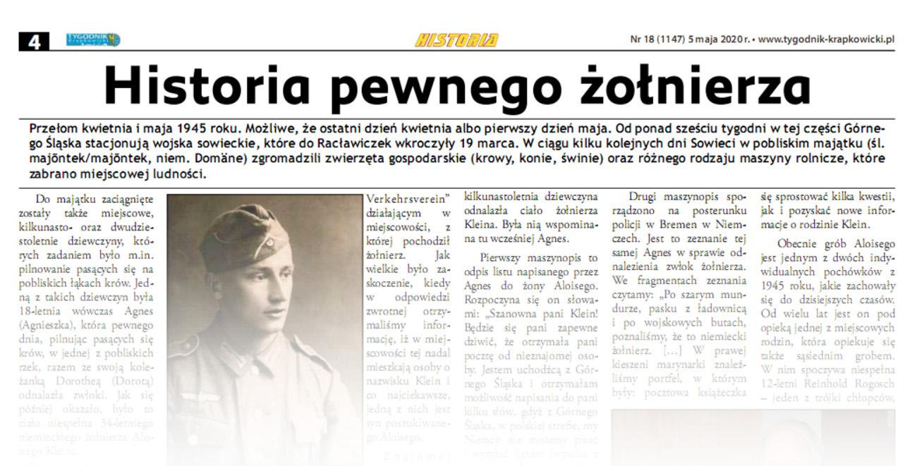 Historia pewnego żołnierza, [w:] Tygodnik Krapkowicki, nr 18, 5.05.2020, s. 4.