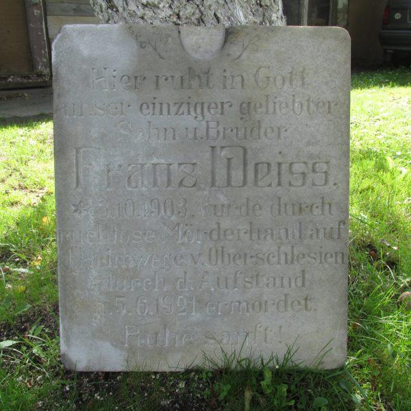 Ponownie odkryta tablica nagrobna Franza Weissa