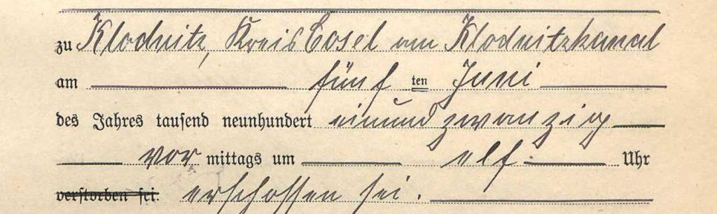 Fragment aktu zgonu Franza z informacją o miejscu i przyczynie śmierci