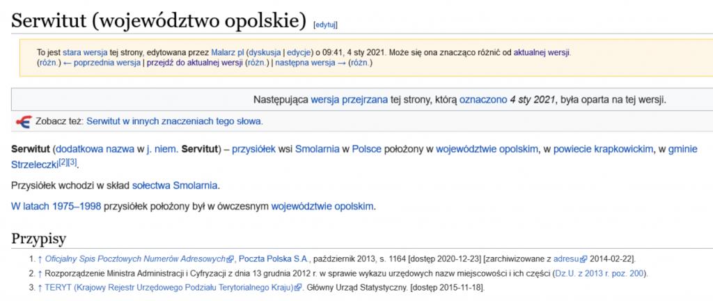 Opis Serwitutu na Wikipedii przed przystąpieniem do prac.